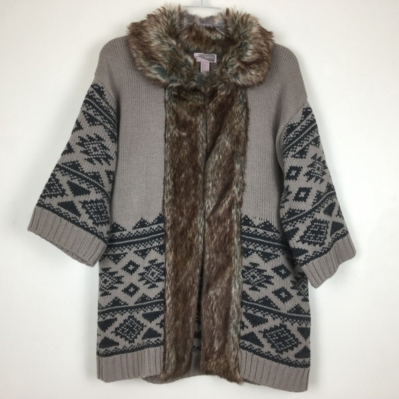 74efb4141aa Forever 21 Sweaters - Forever 21 Cardigan Wool   Faux Fur Aztec Design